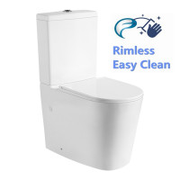 650x360x865mm Livis Rimless Flushing  Easy Height Toilet Suite Wall Faced Ceramic White Soft UF Seat
