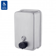 1.2L Tank Type Vertical Liquid Soap Dispenser Satin Stainless Steel Push-in Valve Surface Mounted