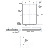 450x1000mm Satin Stainless Steel Framed Mirror Welded Corners Wall Mounted