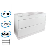 1200x460x850mm Bathroom Floor Vanity Kickboard Freestanding Matt White PVC Filmed Cabinet ONLY & Double Bowls Ceramic Top Available