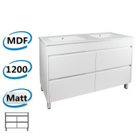 1200x460x850mm Bathroom Floor Vanity Freestanding Matt White PVC Filmed Cabinet ONLY & Double Bowls Ceramic Top Available