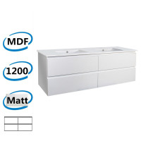 1200x450x550mm Matt White Wall Hung Vanity Cabinet with Four Drawers Only and Optional Ceramic Top for bathroom and kitchen