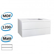 1200x450x550mm Wall Hung Bathroom Floating Vanity Matt White PVC Vacuum Filmed Double Drawers Cabinet ONLY & Ceramic/Poly Top Available