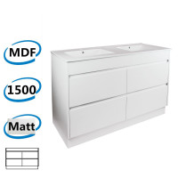 1500x460x850mm Bathroom Floor Vanity Kickboard Freestanding Matt White PVC Filmed Cabinet ONLY & Double Bowls Ceramic Top Available