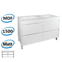 1500x460x850mm Bathroom Floor Vanity Freestanding Matt White PVC Filmed Cabinet ONLY & Double Bowls Ceramic Top Available