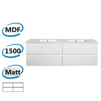 1500x450x550mm Wall Hung Bathroom Floating Vanity Matt White PVC Filmed 4 Drawers Cabinet ONLY&Double Bowls Ceramic Top Available