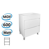 600x460x850mm Bathroom Floor Vanity Freestanding MATT White PVC Filmed Cabinet ONLY & Ceramic/Poly Top Available