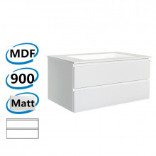 900x450x550mm Wall Hung Bathroom Floating Vanity Matt White PVC Vacuum Filmed Double Drawers Cabinet ONLY &Ceramic/Poly Top Available