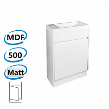 500x250x830mm PVC Filmed Floor Mini Bathroom Vanity Matt White Poly Top Freestanding With Kickboard