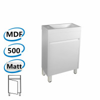500x250x830mm PVC Filmed Floor Mini Bathroom Vanity Matt White Poly Top Freestanding With Legs
