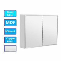 900Lx720Hx150Dmm Bevel Edge White Shaving Cabinet With Mirror MDF