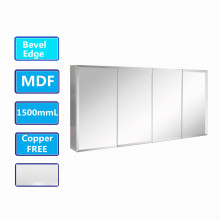 1500Lx720Hx150Dmm MDF Bevel Edge Glossy White Shaving Cabinet With Mirror Four Doors