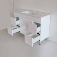 1200x460x850mm Bathroom Vanity Freestanding White MDF Cabinet with Single Bowl Ceramic Top