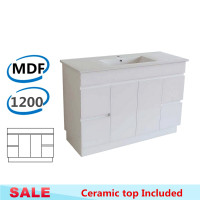 1200x460x850mm Bathroom Vanity Freestanding with Kickboard White MDF Cabinet with Single Bowl Ceramic Top