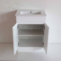 600x460x730mm Bathroom MDF Vanity Freestanding Kickboard White Cabinet with Ceramic Top