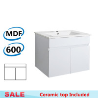 600x460x500mm Bathroom MDF Floating Vanity Wall Hung Gloss White Cabinet with Ceramic Top