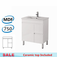 750x460x730mm Bathroom MDF Vanity Freestanding White Right Hand Side Drawers Cabinet with Ceramic Top