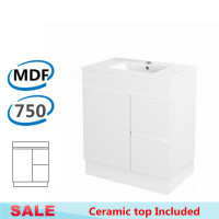 750x460x730mm Bathroom MDF Vanity Freestanding Kickboard White Right Hand Side Drawers Cabinet with Ceramic Top