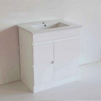750x460x730mm Bathroom MDF Vanity Freestanding Kickboard White Left Hand Side Drawers Cabinet with Ceramic Top