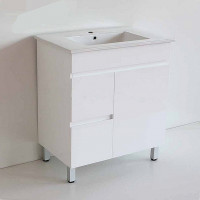 750x460x730mm Bathroom MDF Vanity Freestanding White Left Hand Side Drawers Cabinet with Ceramic Top