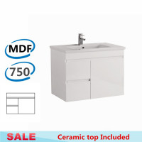 750x460x500mm Bathroom MDF Floating Vanity Wall Hung White Left Hand Side Drawers Cabinet with Ceramic Top
