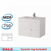 750x460x500mm Bathroom MDF Floating Vanity Wall Hung White Right Hand Side Drawers Cabinet with Ceramic Top