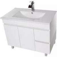 900x455x710mm Bathroom MDF Vanity Freestanding White Right Hand Side Drawers Cabinet with Ceramic Top