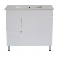 900x455x710mm Bathroom MDF Vanity Freestanding White Left Hand Side Drawers Cabinet with Ceramic Top