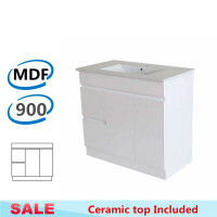 900x455x710mm Bathroom MDF Vanity Freestanding with Kickboard White Left Hand Side Drawers Cabinet with Ceramic Top