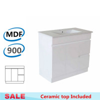 900x455x710mm Bathroom MDF Vanity Freestanding with Kickboard White Right Hand Side Drawers Cabinet with Ceramic Top
