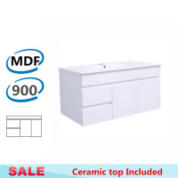 900x455x500mm Bathroom MDF Floating Vanity Wall Hung White Left Hand Side Drawers Cabinet with Ceramic Top