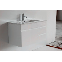 900x455x500mm Bathroom MDF Floating Vanity Wall Hung White Right Hand Side Drawers Cabinet with Ceramic Top