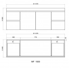 1500mm Wall Hung Bathroom Vanity Doors Drawers Cabinet Only Single Double Bowls Available