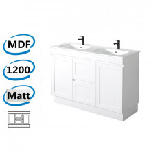 1178x450x820mm Miami Matt White Freestanding MDF Vanity Cabinet in Shaker Hampton Style with Optional Ceramic Top for bathroom or kitchen