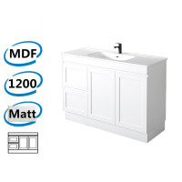 1178x450x820mm Miami Matt White Freestanding MDF Vanity Cabinet in Shaker Hampton Style with Left Side Drawers Optional Ceramic Top for bathroom or kitchen