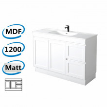 1178x450x820mm Miami Matt White Freestanding MDF Vanity Cabinet in Shaker Hampton Style with Right Side Drawers Optional Ceramic Top for bathroom or kitchen