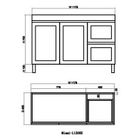 1178x450x820mm Miami Freestanding Legs Bathroom Vanity MATT WHITE Shaker Hampton Style RIGHT Drawers Cabinet ONLY&Ceramic/Poly Top Available