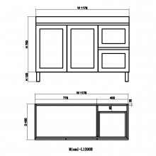 1178x450x820mm Miami Freestanding Legs Bathroom Vanity MATT ..