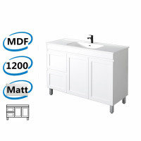 1178x450x820mm Miami Matt White Freestanding MDF Vanity Cabinet in Shaker Hampton Style with Left Side Drawers and Optional Ceramic Top for bathroom or kitchen
