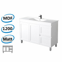 1178x450x820mm Miami Matt White Freestanding MDF Vanity Cabinet in Shaker Hampton Style with Right Side Drawers and Optional Ceramic Top for bathroom or kitchen