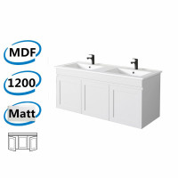 1178x450x505mm Miami Matt White Wall Hung MDF Vanity Cabinet in Shaker Hampton Style with Optional Ceramic Top for bathroom or kitchen