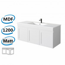 1178x450x505mm Miami Matt White Wall Hung MDF Vanity Cabinet in Shaker Hampton Style with Left Side Drawers and Optional Ceramic Top for bathroom or kitchen