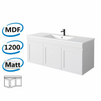 1178x450x505mm Miami Matt White Wall Hung MDF Vanity Cabinet in Shaker Hampton Style with Right Side Drawers and Optional Ceramic Top for bathroom or kitchen