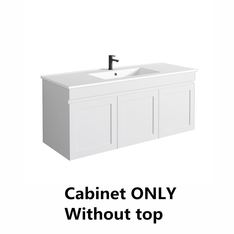1178x450x505mm Miami Wall Hung Bathroom Floating Vanity MATT WHITE Shaker Style LEFT Drawer Cabinet ONLY&Ceramic/Poly Top Available