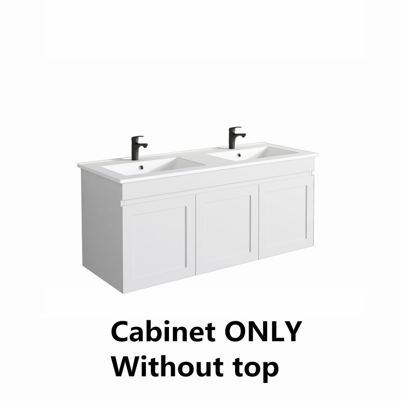 Miami Wall Hung Bathroom Floating Vanity MATT WHITE Shaker Style Cabinet ONLY&Double Bowls Ceramic Top Available