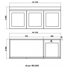 1178x450x505mm Miami Wall Hung Bathroom Floating Vanity MATT WHITE Shaker Hampton Style RIGHT Drawer Cabinet ONLY&Ceramic/Poly Top Available