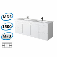 1477x450x550mm Hawaii Wall Hung Bathroom Floating Vanity MATT WHITE Shaker Hampton Style Cabinet ONLY&Double Bowls Ceramic Top Available