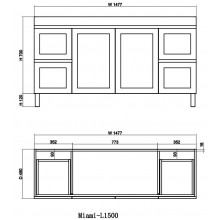 1477x450x820mm Miami Freestanding with Legs Bathroom Vanity MATT WHITE Shaker Hampton Style Cabinet ONLY&Double Bowls Ceramic Top Available