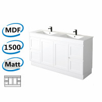 1477x450x820mm Miami Freestanding with Kickboard Bathroom Vanity MATT WHITE Shaker Hampton Style Cabinet ONLY&Double Bowls Ceramic Top Available