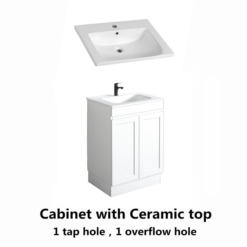 590x450x820mm Miami Freestanding Kickboard Bathroom Vanity MATT WHITE Shaker Style Cabinet ONLY&Ceramic/Poly Top Available